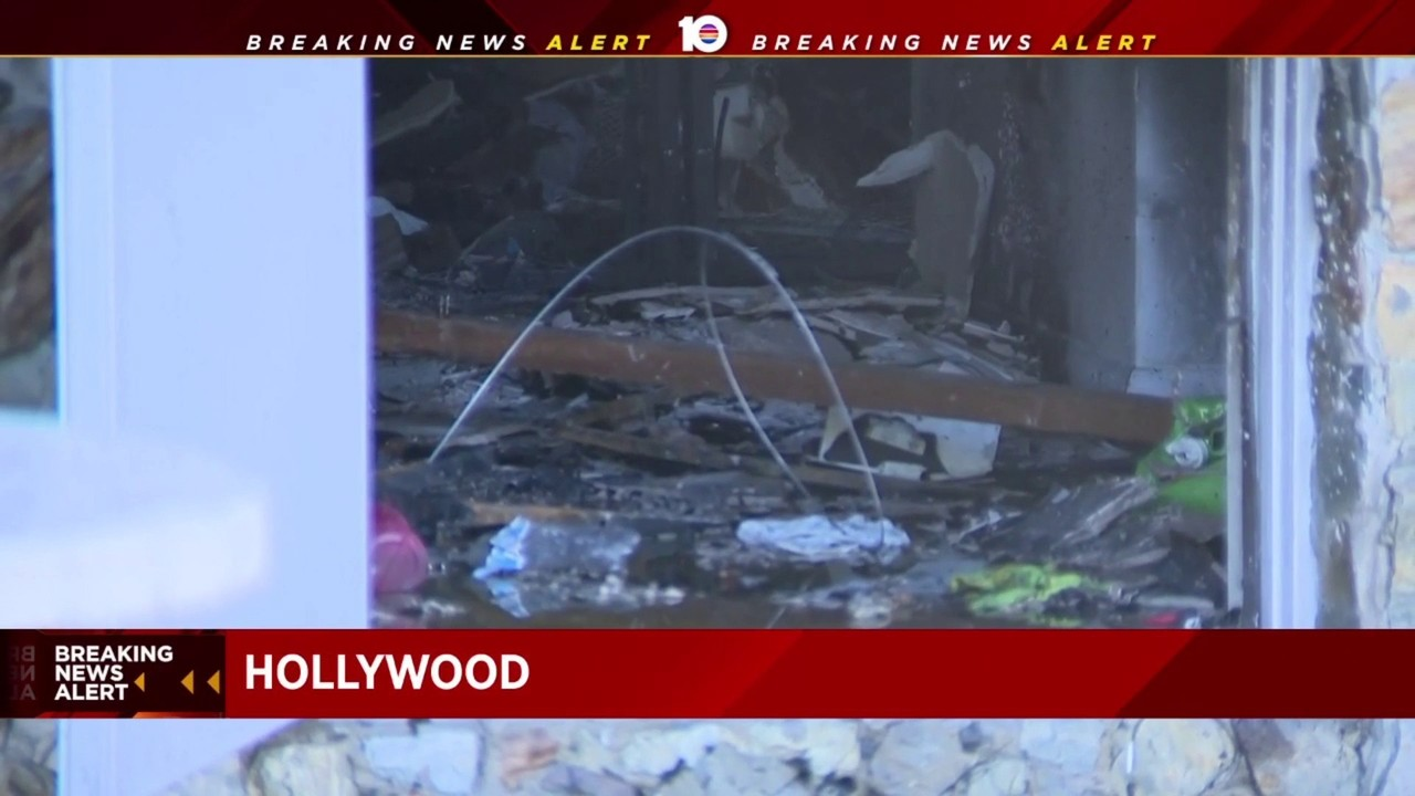 Firefighter breaks hand while responding to apartment fire in Hollywood