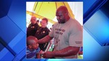 Shaq represents Broward Sheriff's Office during turkey giveaway