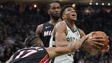 Antetokounmpo has triple-double as Bucks crush Heat 124-86