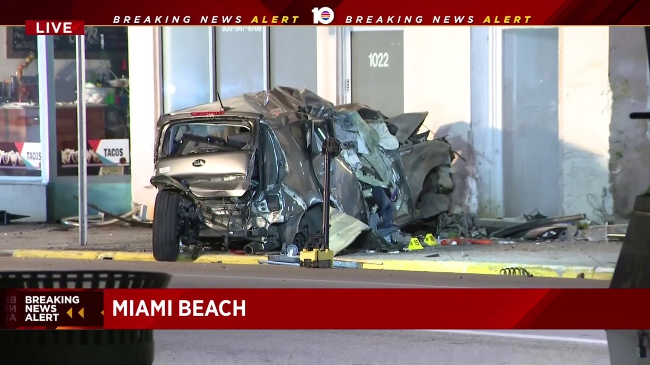 1 dead, another injured when car crashes into wall in miami beach
