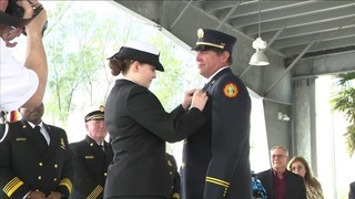 Navy petty officer surprises father at Miami-Dade Fire Rescue promotion ceremony