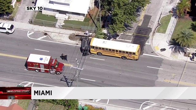 School bus crashes into car in Miami's Little Havana