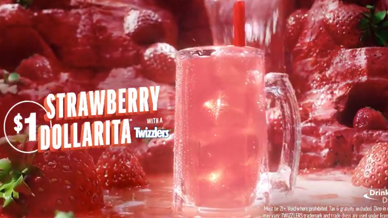 $1 Strawberry Margaritas with Twizzler straw at Applebee's in