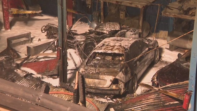 Cars scorched in fire at Miami auto shop