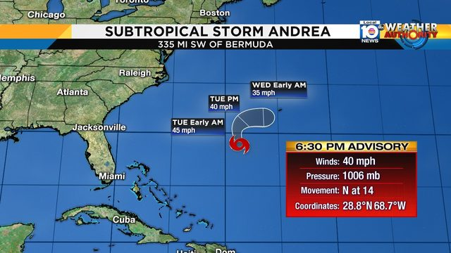Subtropical Storm Andrea forms deep in the Atlantic