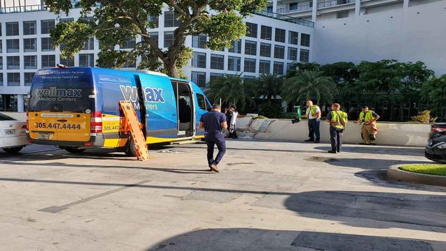 Medical transport van crashes into barrier wall in Miami