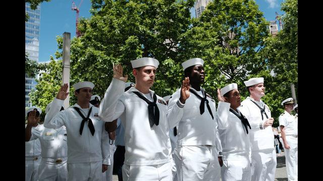 Photos: U.S. Navy re-enlist ceremony at 9/11 Memorial