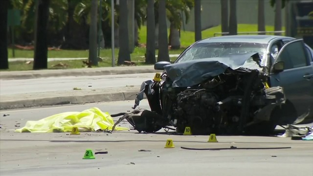 Fiery crash in Miami Springs