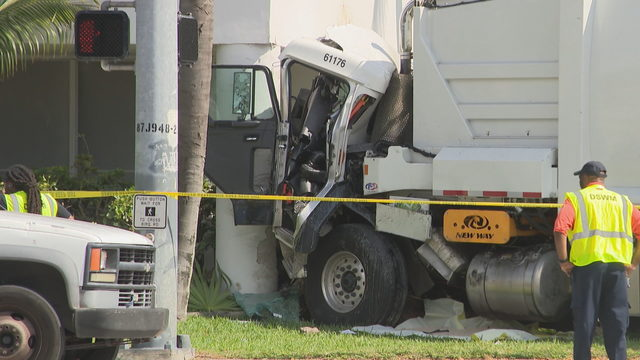 Garbage truck slams into recording studio in South Miami