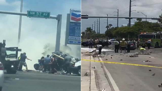 2 dead, 1 hurt in fiery crash in Miami Springs