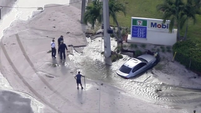Car crashes into fire hydrant, impacting traffic in Deerfield Beach