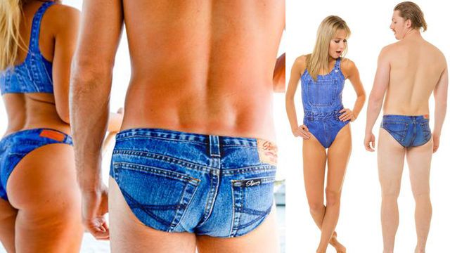 Jean swimming briefs are real, as in real terrible