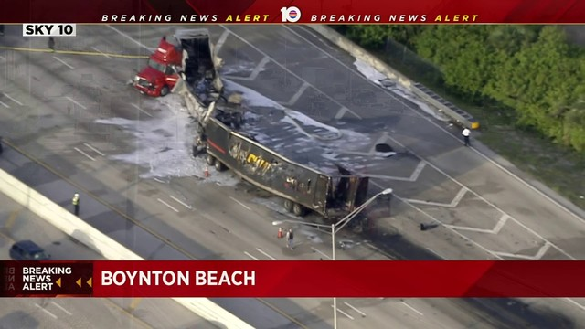 Fatal crash closes southbound lanes of I-95 in Boynton Beach