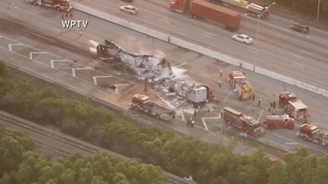 Southbound lanes of I-95 closed in Boynton Beach after tractor-trailer fire