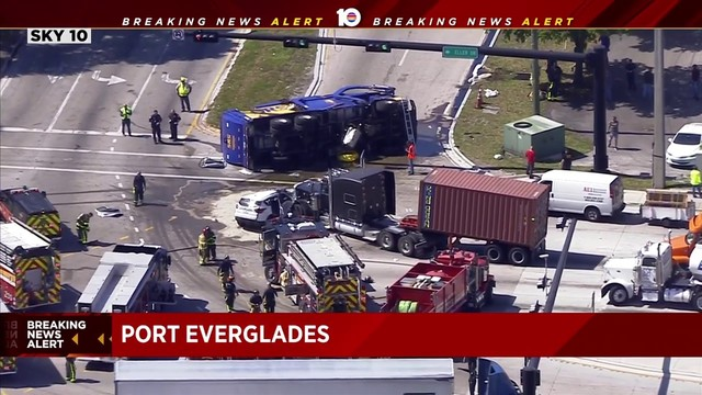 Dump truck overturns near Port Everglades, causing massive cleanup