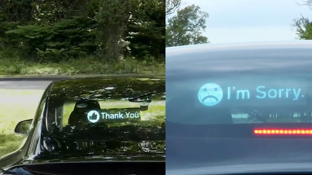 Road to ruin? Car sign lets you message other drivers