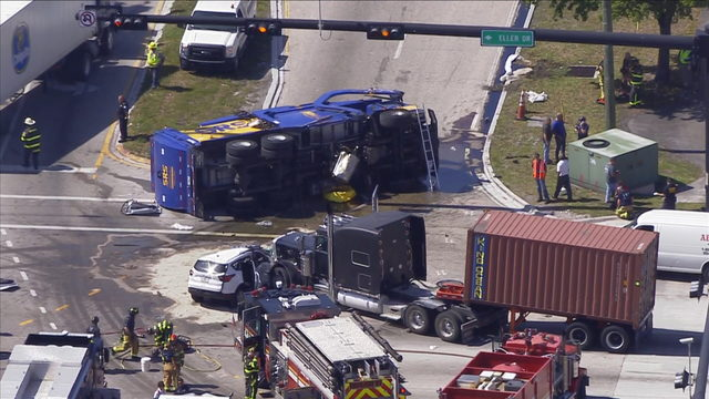 Dump truck overturns during multi-vehicle crash near Port Everglades