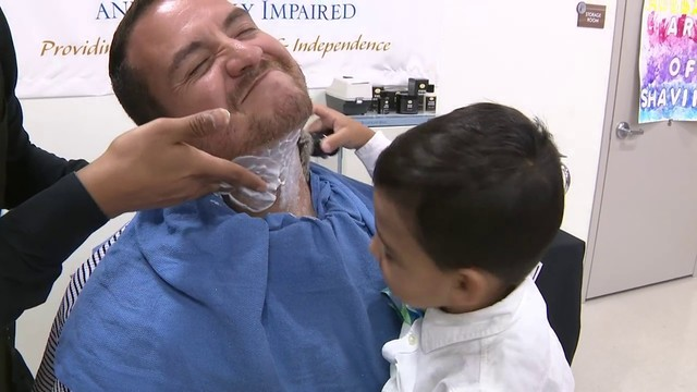 Blind preschoolers help prep fathers' faces for shaving