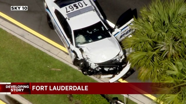 Officer OK after getting into crash while responding to Fort Lauderdale…