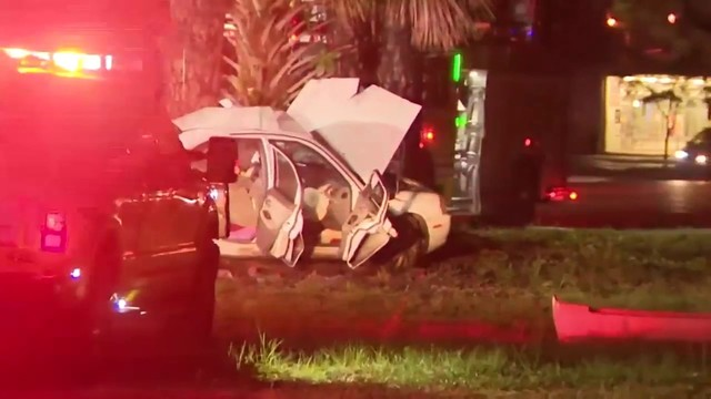 Mother seriously hurt after single-car crash in Opa-locka