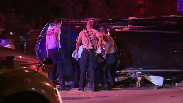 Driver rescued from overturned SUV after crash in North Miami