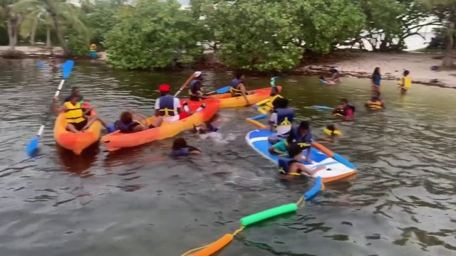 Children play in Biscayne Bay with Shake-A-Leg Miami