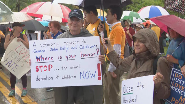 Scores protest outside Homestead detention center for kids