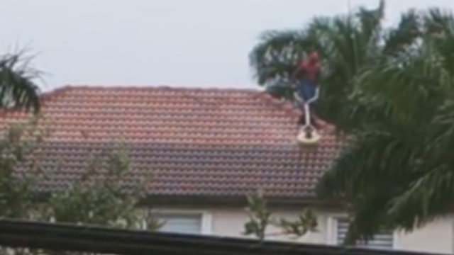 Webslinger gets day job! Spider-Man seen pressure cleaning Miramar roof