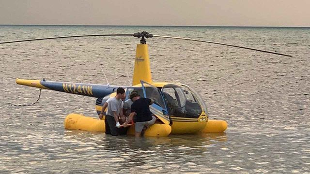 Sightseeing helicopter makes emergency landing in ocean off Key West