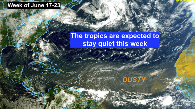 The tropics remain quiet for now