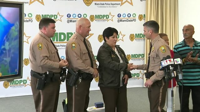 Miami-Dade police officers honored for saving bicyclist's life