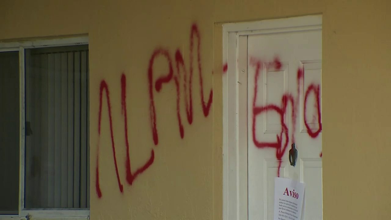 'Alpine' spray-painted throughout Hialeah condo complex