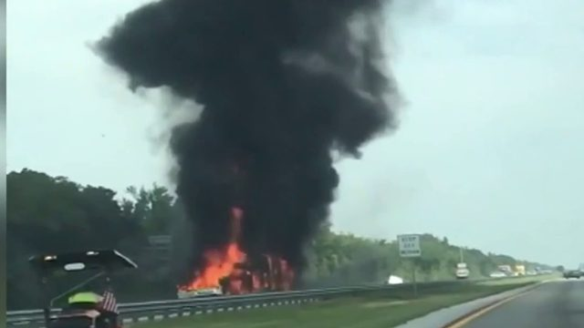 Boy Scouts survive fiery crash on Turnpike