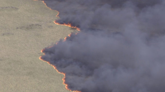 Large Everglades brush fire burns in west Broward County
