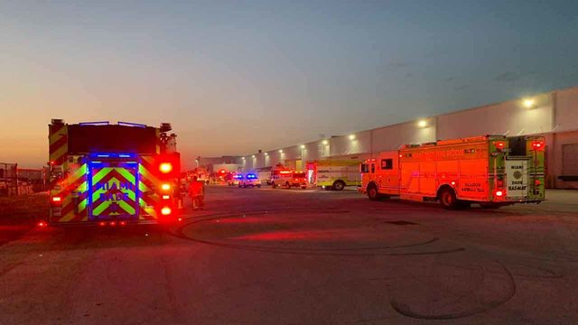 Miami-Dade Fire Rescue hazmat crew called after warehouse fire