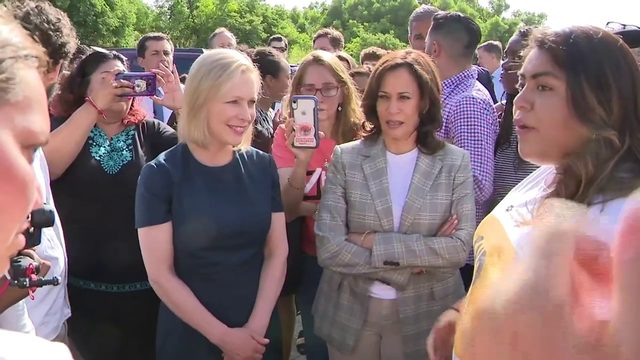 Harris, Gillibrand speak outside Homestead facility for migrant children