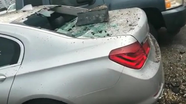 Car damaged by nearby lightning strike in Miami