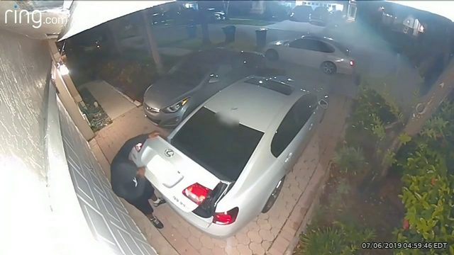Thief caught on camera rummaging through trunk of car in Miramar