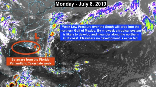 Tropical system expected to slowly develop midweek in northern Gulf of Mexico