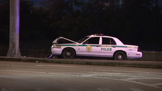 Officer taken to hospital after cruiser crashes into pole