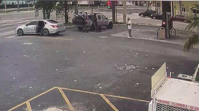 Video shows armed carjacking at Miami gas station