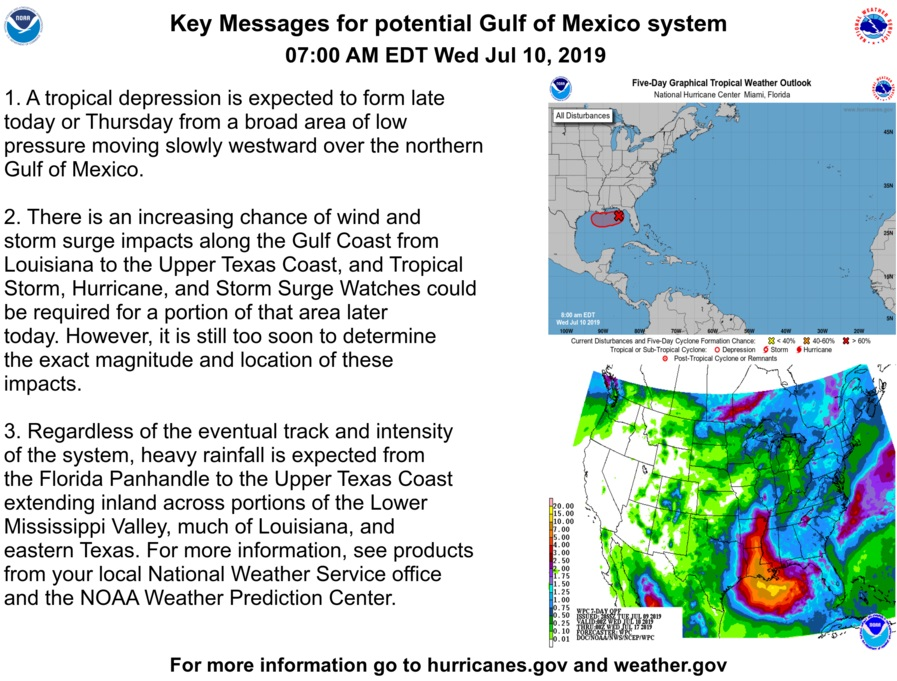 Tropical system developing in northern Gulf of Mexico