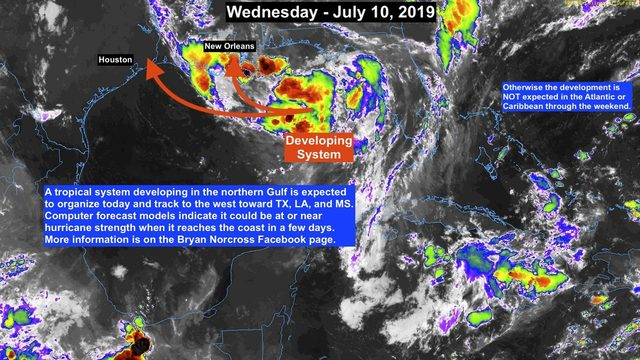 Tropical system developing in northern Gulf of Mexico forecast to strengthen