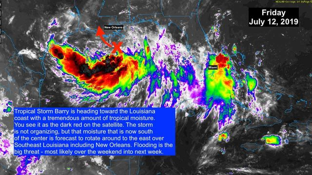 Tropical Storm Barry still disorganized, but headed toward Louisiana