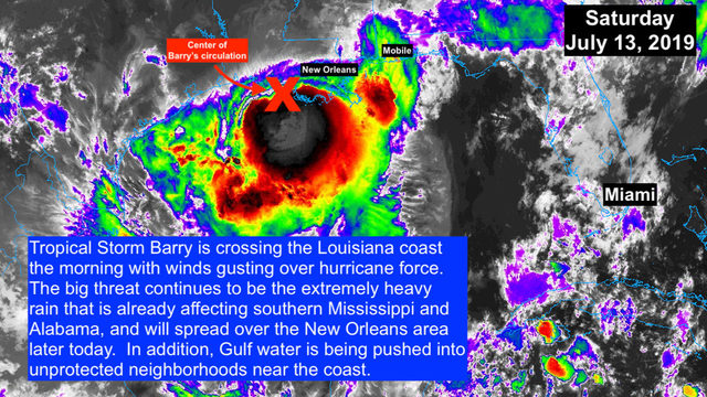 Tropical Storm Barry's storm surge threatens Louisiana