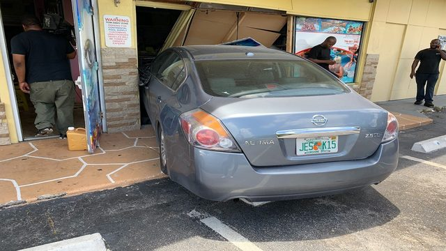 Car crashes into pool supply store in Miramar