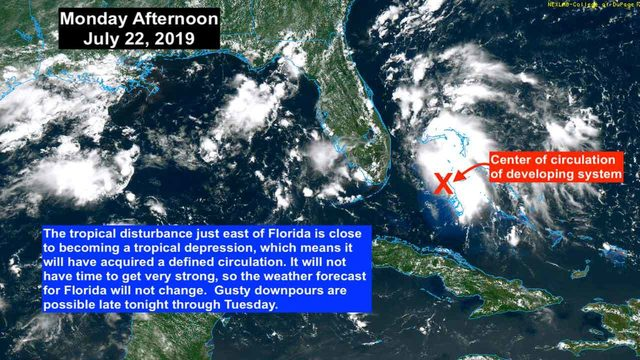 Tropical disturbance approaching South Florida likely to become depression