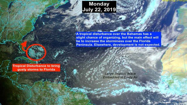 Weak tropical disturbance approaches South Florida