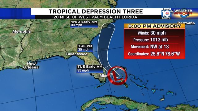 Disturbance approaching South Florida becomes depression