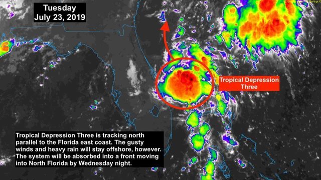 Tropical depression off Florida coast no threat to land